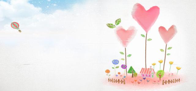 浪漫爱心树背景