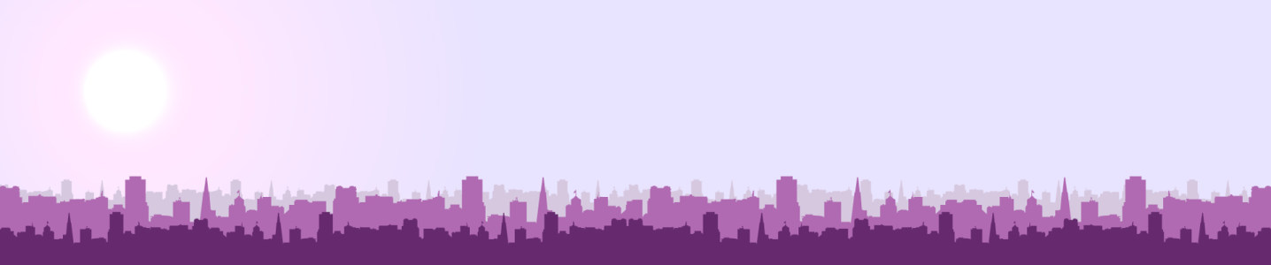 紫色城市剪影banner背景