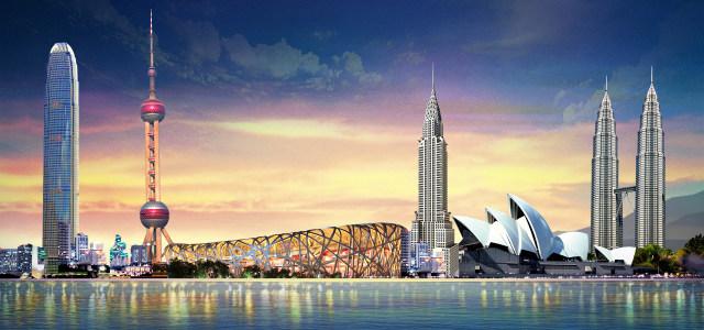 紫色世界著名城市建筑背景