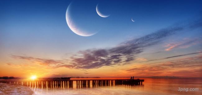 天空大海夕阳背景背景高清大图-夕阳背景城市建筑