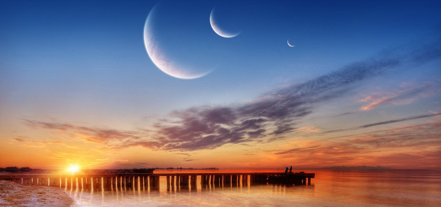 天空大海夕阳背景高清背景图片素材下载