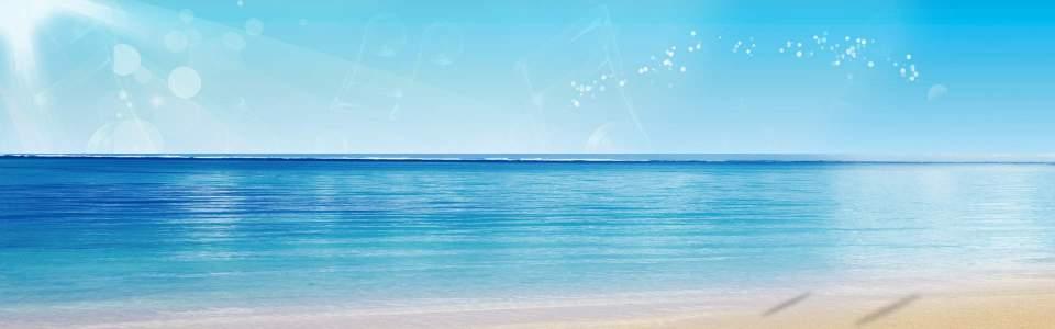 蓝色海洋 天空背景