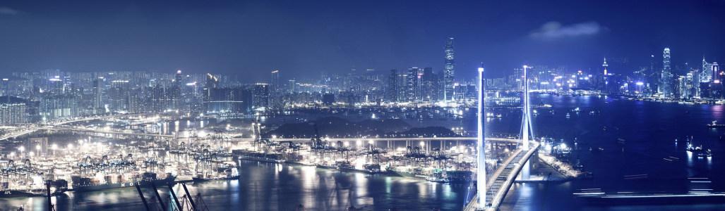 香港夜景banner创意设计