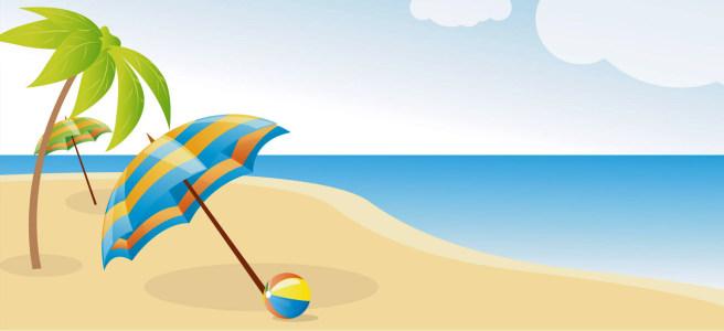 简笔沙滩画