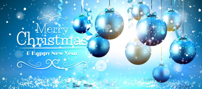 蓝色圣诞吊球banner背景