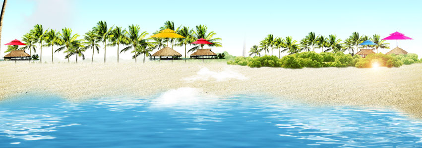 旅游海滩海景背景banner