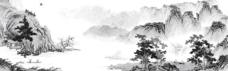 中式手绘水墨山水海报背景