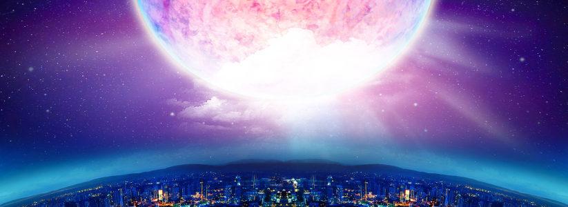 节日天空月亮banner背景高清背景图片素材下载