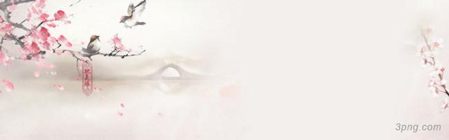 唯美中国风花鸟山水海报背景背景高清大图-风花背景淡雅/清新/唯美