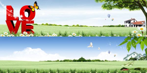 春天户外风景banner背景高清背景图片素材下载