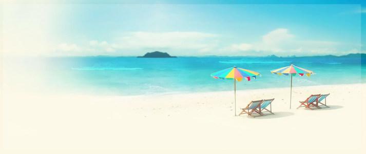 海滩淘宝淡雅促销海报背景