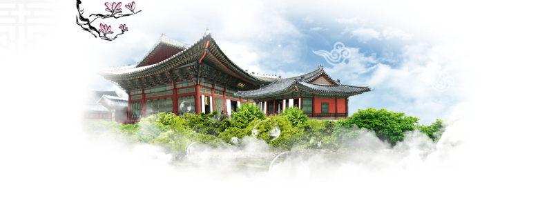 韩国传统建筑背景banner
