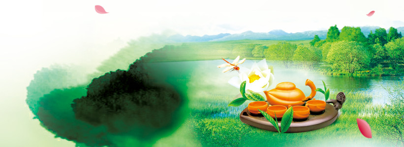 茶文化中国古典水墨式背景banner
