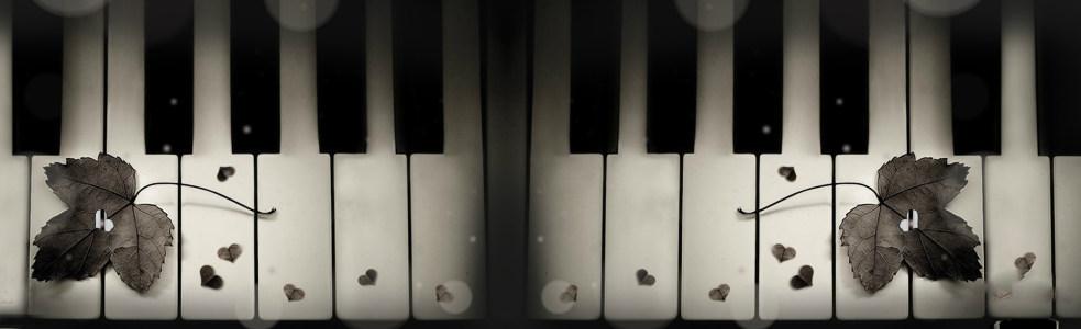 黑白钢琴唯美背景banner