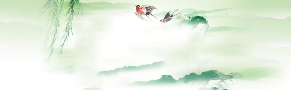 美食饮食中国风山水画垂柳燕子背景banner