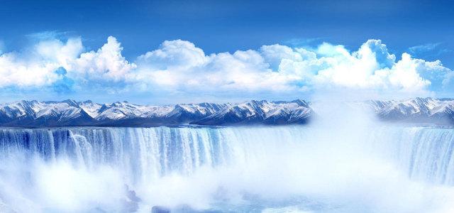 蓝天白云瀑布背景