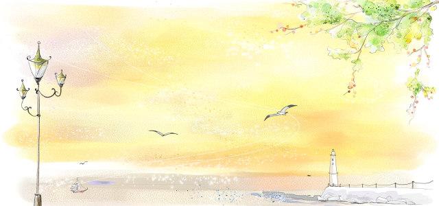 唯美风景插画背景高清背景图片素材下载
