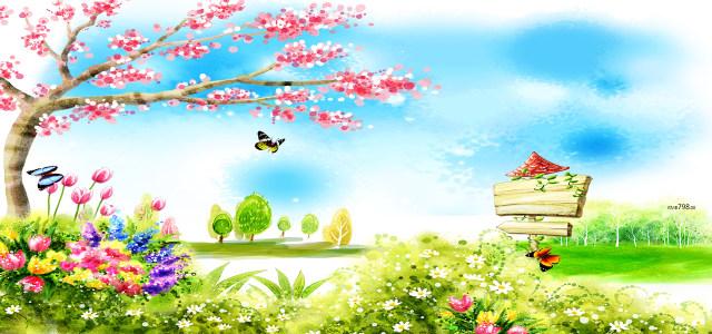 手绘春季背景
