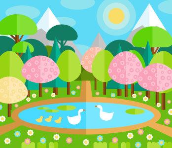 春季池塘风景矢量