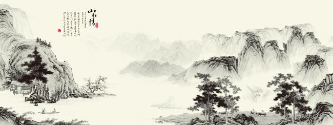 山水画背景背景高清大图-山水画背景自然/风光