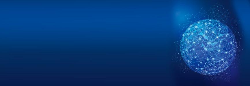 蓝色科技几何球光束背景banner