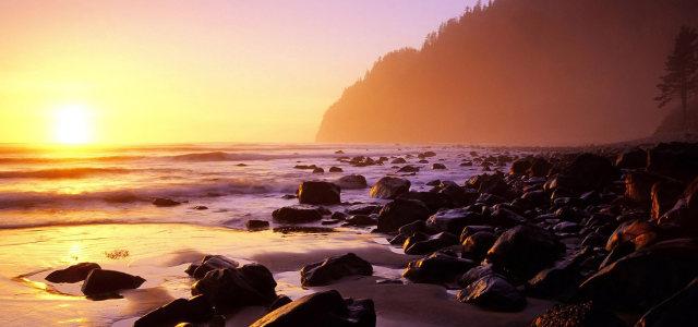 夕阳下的大海高清背景图片素材下载