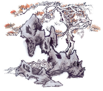 中国风古树画高清背景图片素材下载