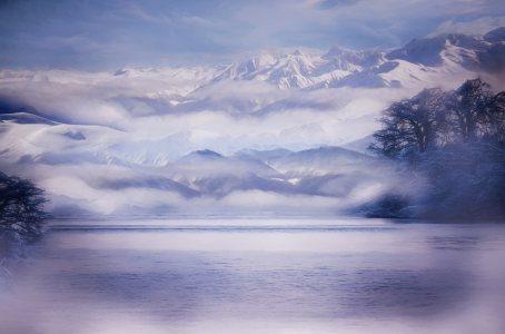 冬日雪景雪山背景高清背景图片素材下载