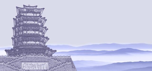 素描古建筑高清背景图片素材下载