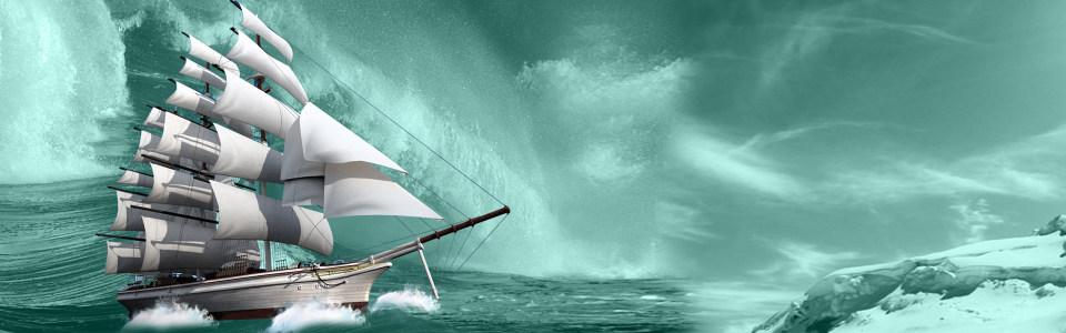蓝天海洋帆船背景