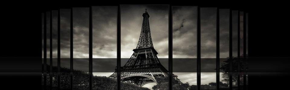 大气埃菲尔铁塔黑白色调淘宝海报背景高清背景图片素材下载
