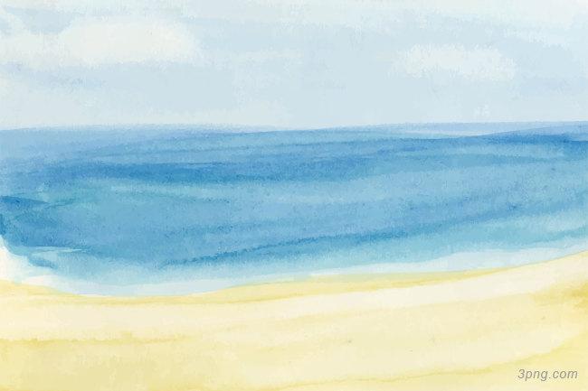 水彩彩绘蓝色大海与沙滩背景矢量背景高清大图-水彩背景自然/风光