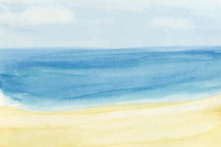 水彩彩绘蓝色大海与沙滩背景矢量
