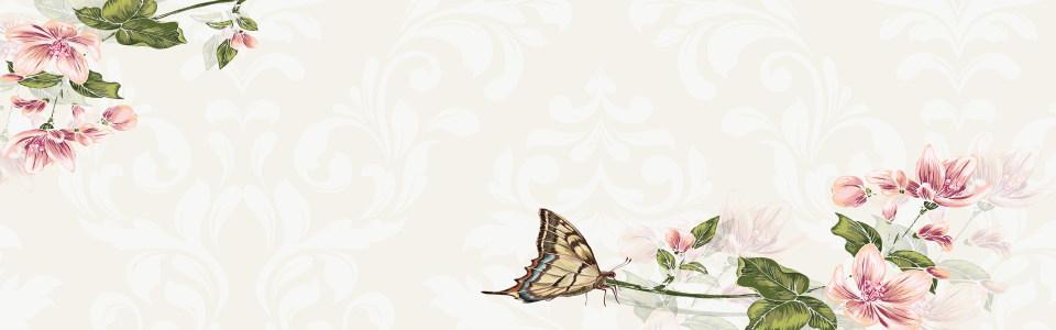 手绘中式花朵蝴蝶海报背景