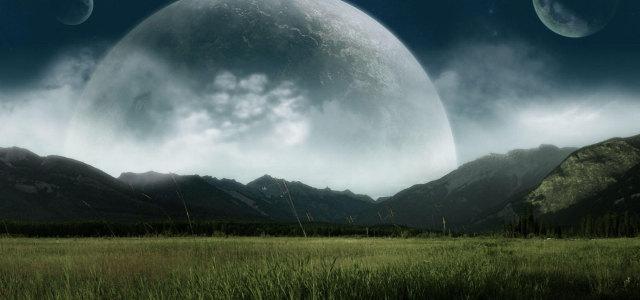 星球天空草原背景