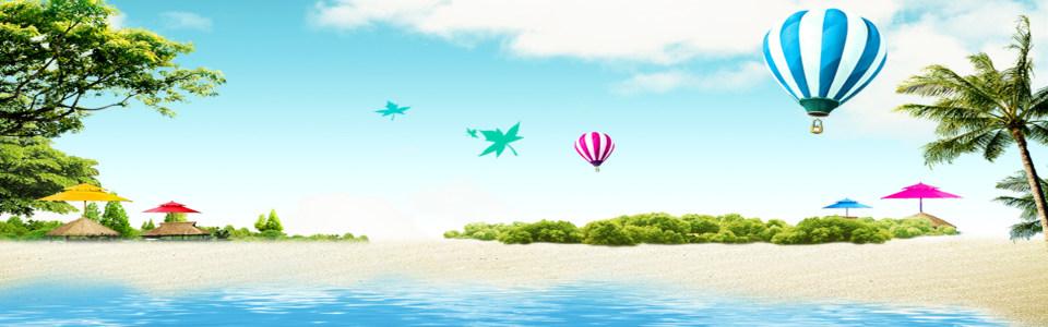 蓝天白云海滩风景