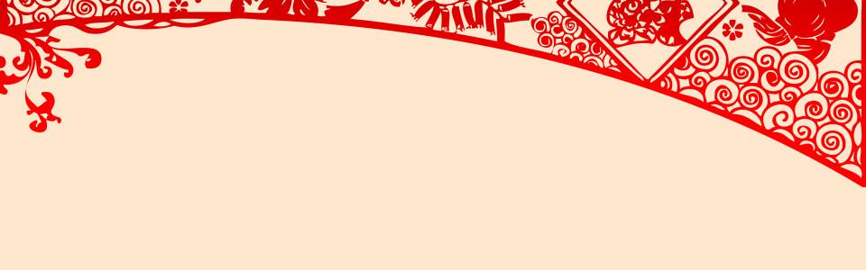 中国红简约大气剪纸文化海报背景