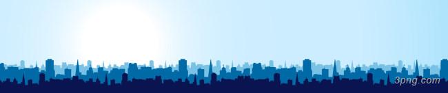 蓝色城市剪影banner背景背景高清大图-剪影背景Banner海报