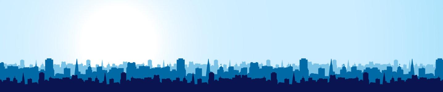 蓝色城市剪影banner背景高清背景图片素材下载