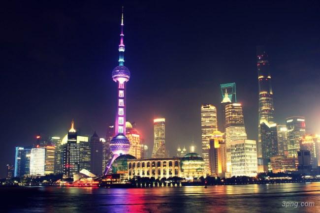 上海东方明珠夜景背景高清大图 东方明珠背景城市建筑 三元素3png.com