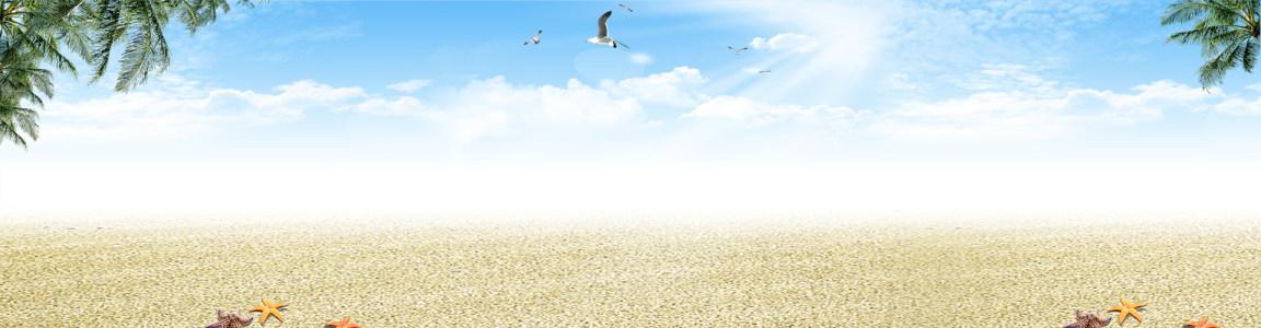 海滩小清新摄影banner壁纸