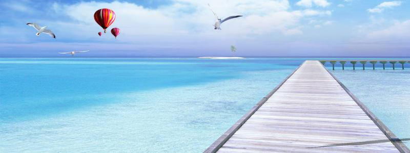 美丽海边淘宝海报高清背景图片素材下载