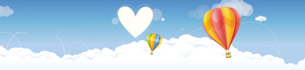 卡通天空心热气球背景banner