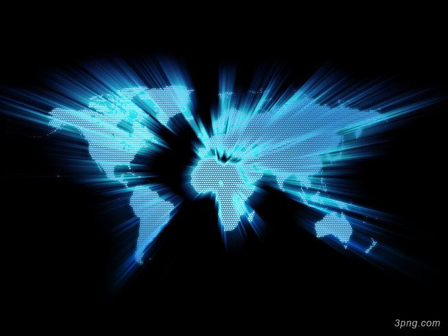 蓝色发光的世界地图背景背景高清大图-世界地图背景底纹/肌理