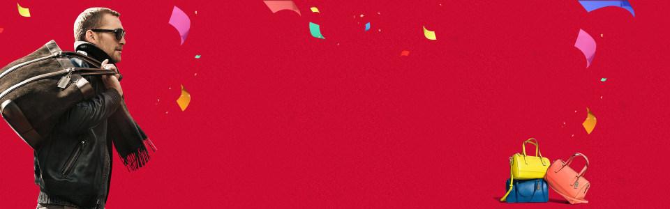 红色背景包包图