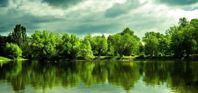 湖边树林天空背景