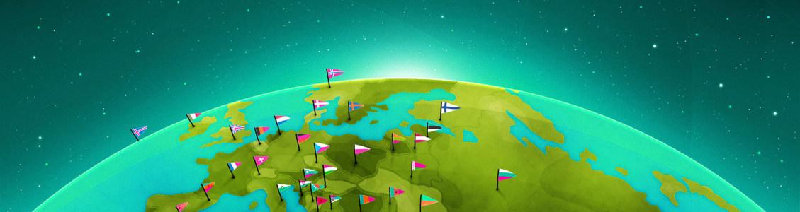 地球国旗banner创意设计