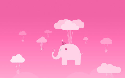 粉色天空云彩小象