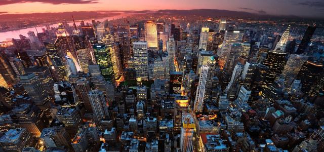 夕阳城市背景