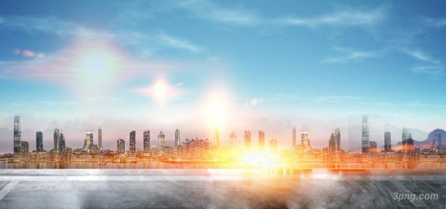 蓝色建筑背景背景高清大图-背景背景城市建筑